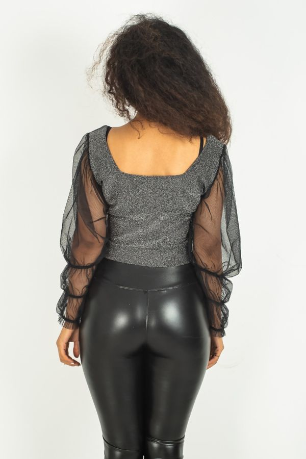 Silver Glitter Puff Sleeves Top