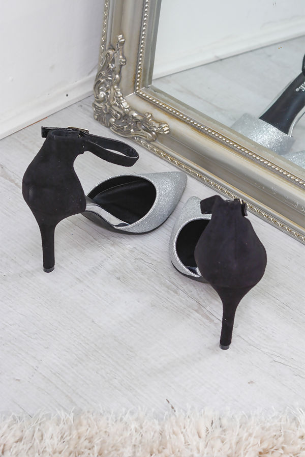 Silver Stiletto Pump Heel