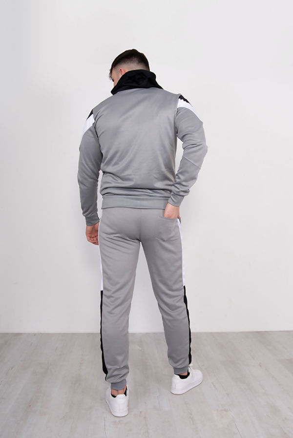 Silver With Black Chevron Stripe Poly Tracksuit Pre Order