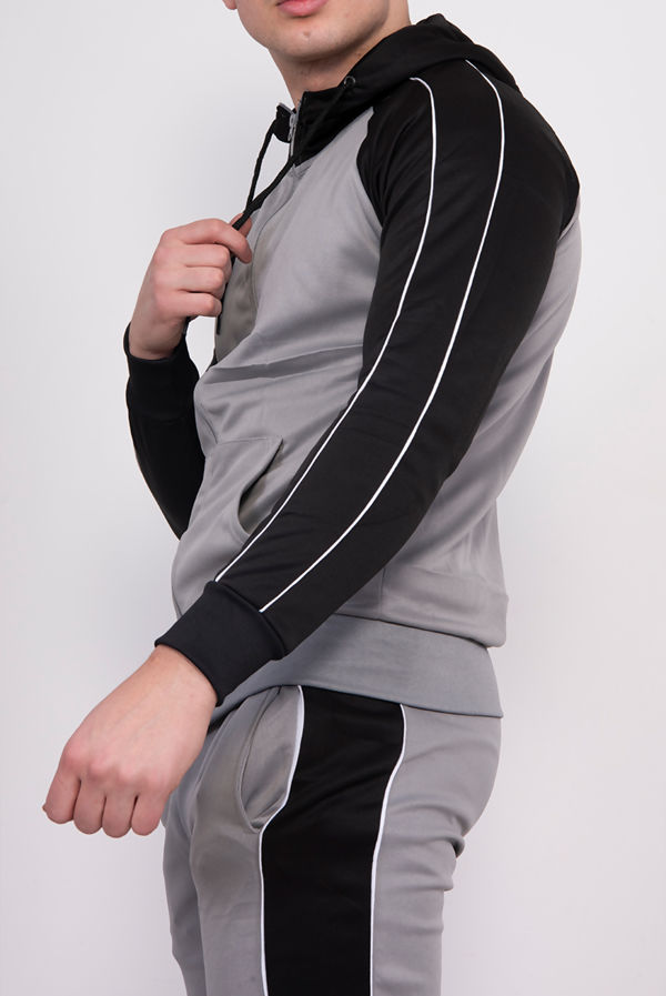 Silver With Black Piped Raglan Tracksuit