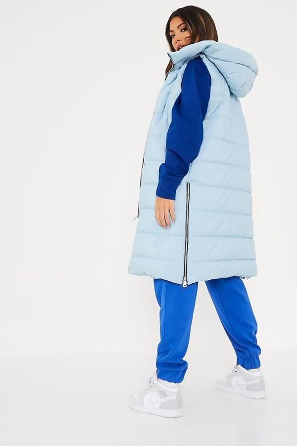 Sky Blue Longline Hooded Puffer Gilet Size 10