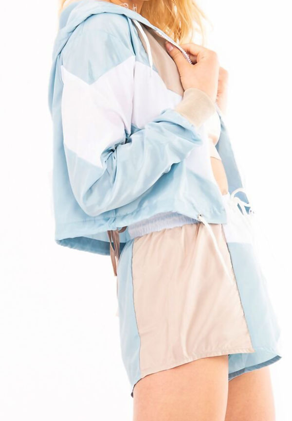 Sky Blue Two Tone Crop Hood and Shorts Tracksuit