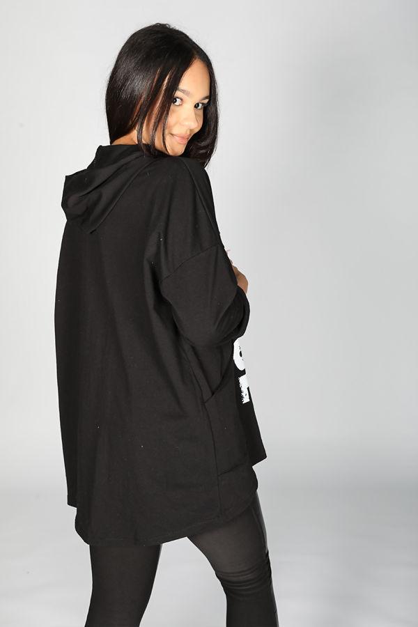Slogan Print Hooded Zipped Cardigan