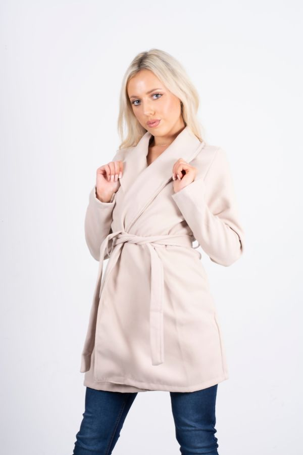 Stone Belted Wrap Detail Wool Look Coat