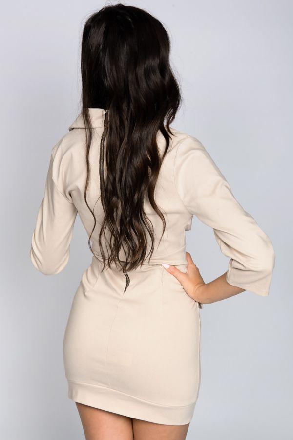 Stone Button Detail Cargo Mini Dress