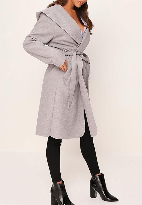 Stone Hooded Belted Shawl Coat