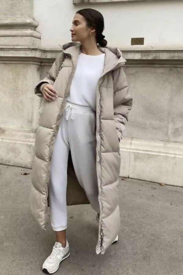 Stone Hooded Maxi Padded Coat