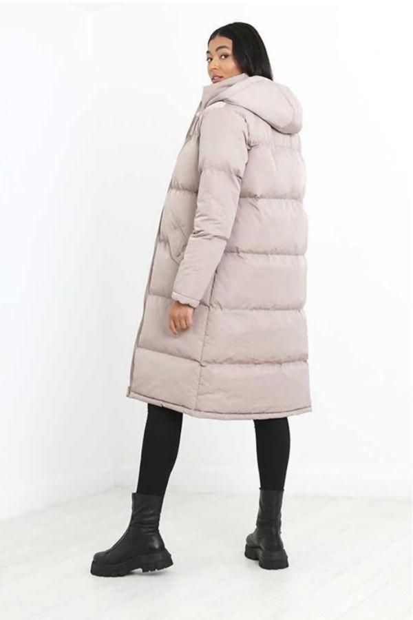 Stone Longline Hooded Puffer Coat