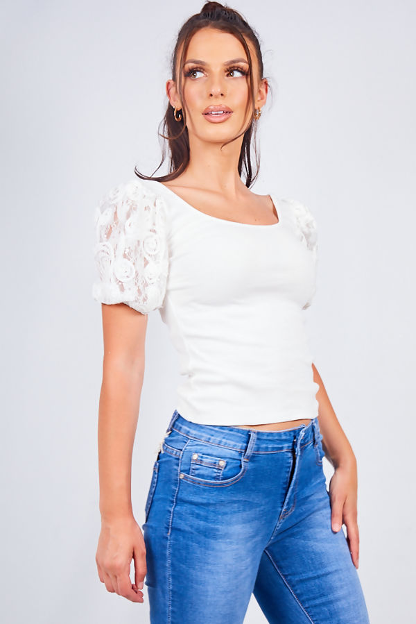 White Mesh Ribbed Floral Sleeve Top
