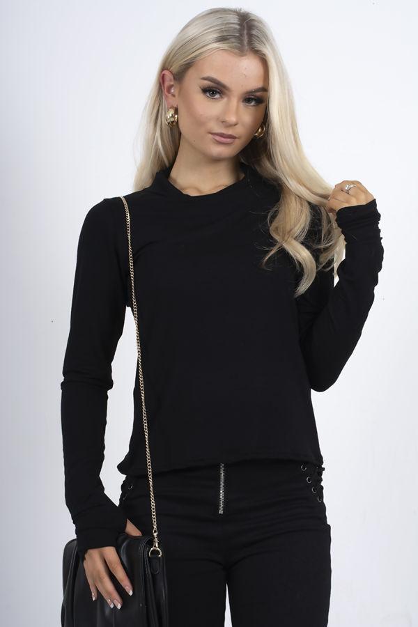 Black Jersey Long Sleeve Mask Top