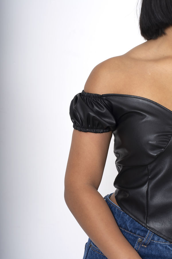 Black Faux Leather Zip Front Crop Top