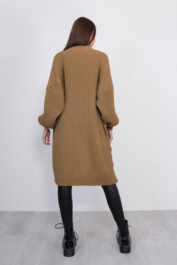 Tan Balloon Sleeve Pocket Front Knitted Cardigan