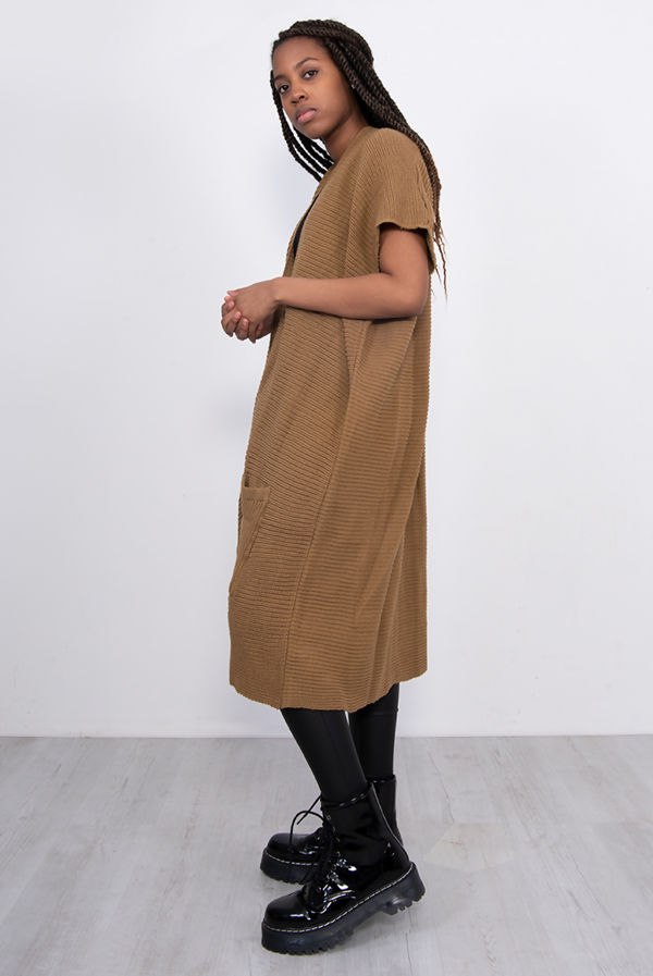 Tan Knitted Kimono Cardigan