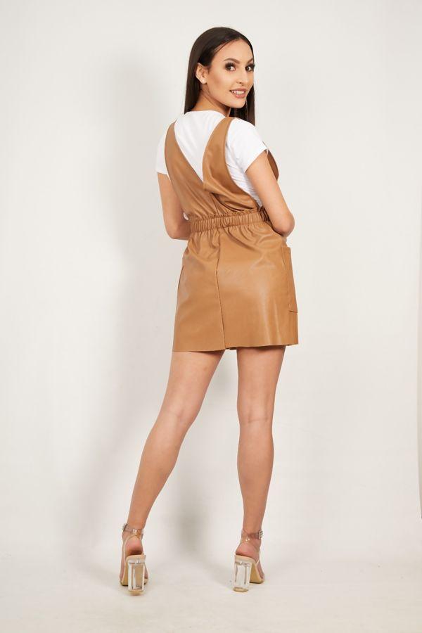Tan Over the Top Pu Pinafore Dress