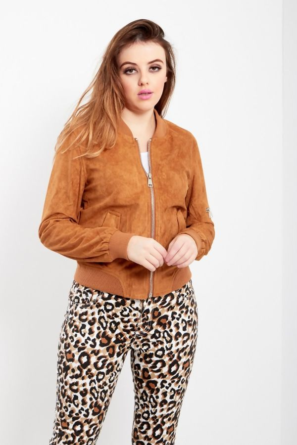 Tan Suede Zip Up Bomber Jacket