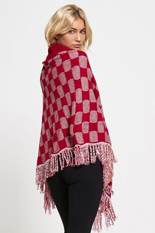 Red Tassel Hem Winter Poncho