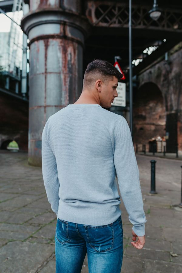 Grey Fine Textured Knit Jumper