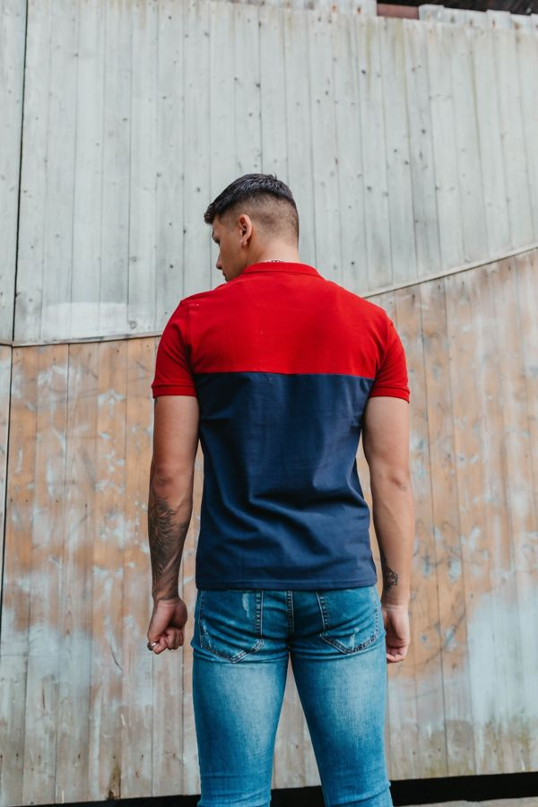 Navy With Red Collared Polo Shirt