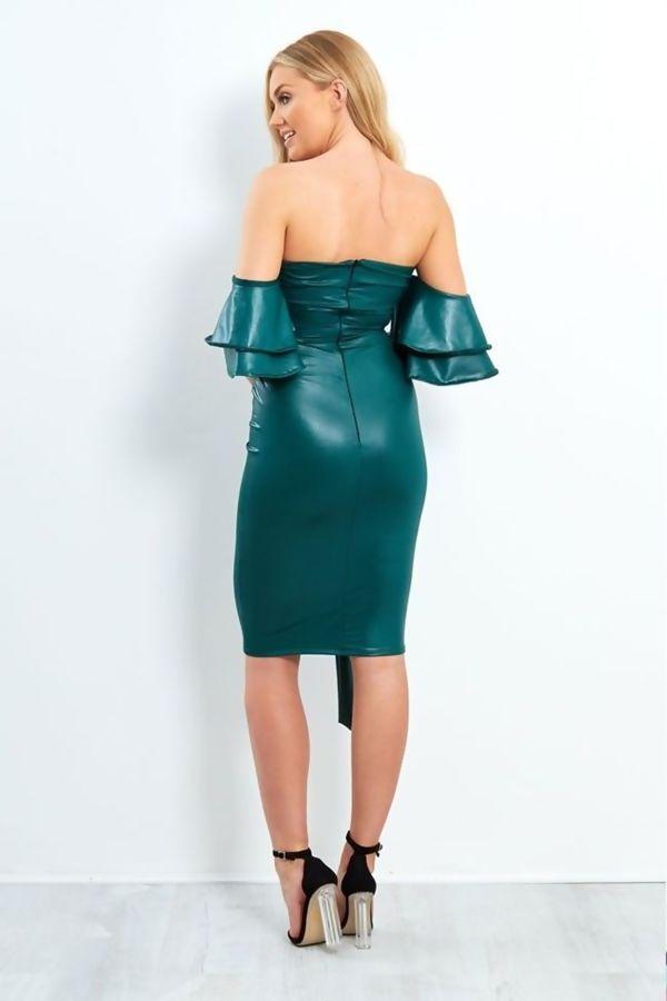 Teal PU Off Shoulder Bow Midi Dress