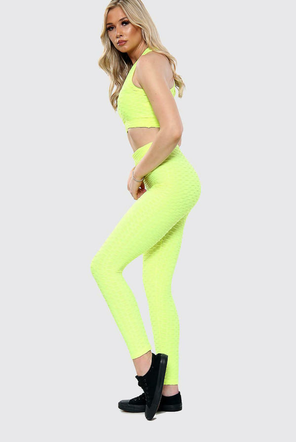 Texture Crop Top And Leggings Gym Set