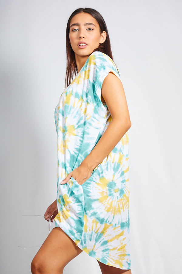 Tie Dye Oversized Dip Hem Pocket Tee Dress