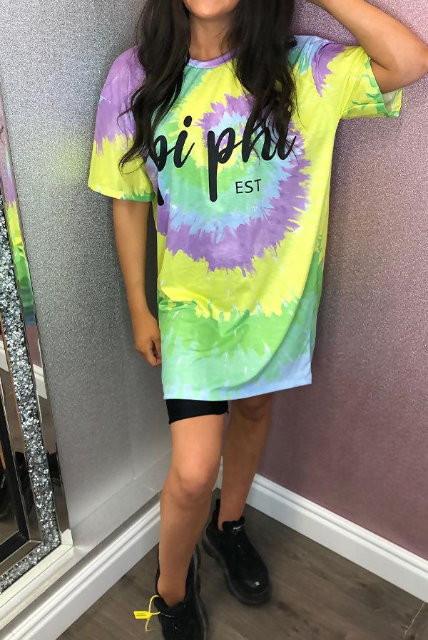 Tie Dye Pi Phi Oversized Tee Dress