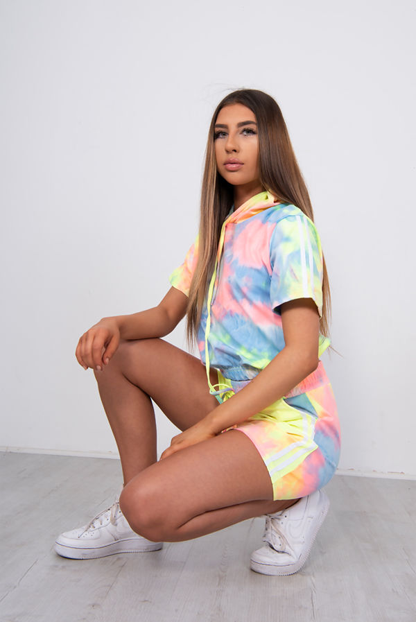 Tie Dye Striped Side Hoodie And Short Track Set