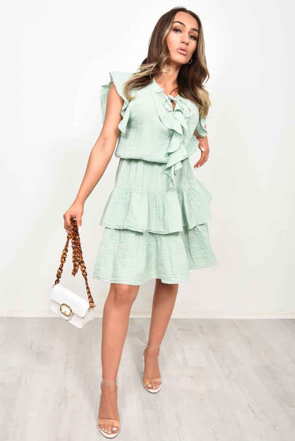 Tie Neck Linen Tiered Ruffle Dress