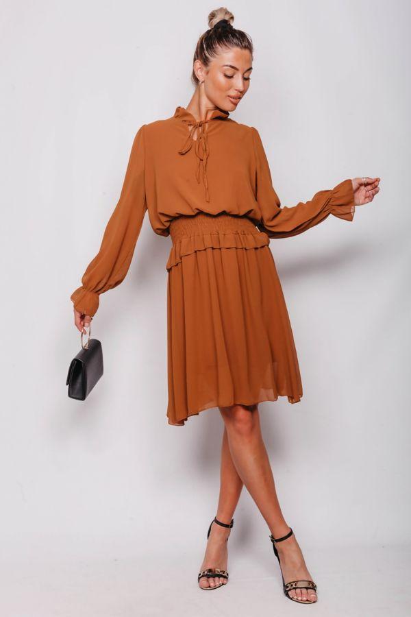 Tie Neck Shirred Waist Mini Dress