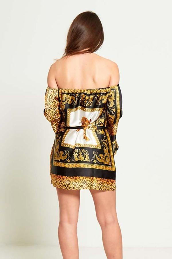 Tiger Print Bardot Mini Dress