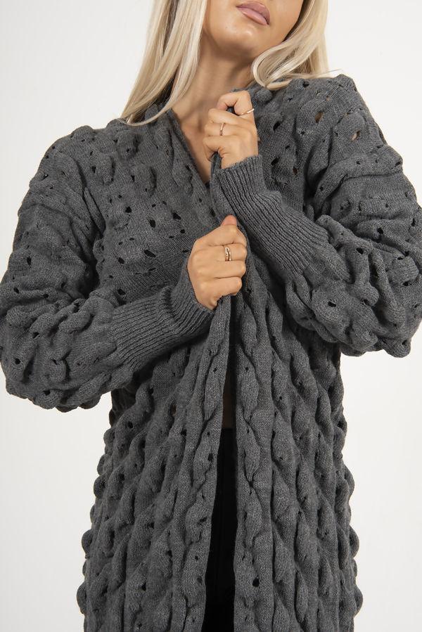 Charcoal Bubble Knit Chunky Longline Cardigan