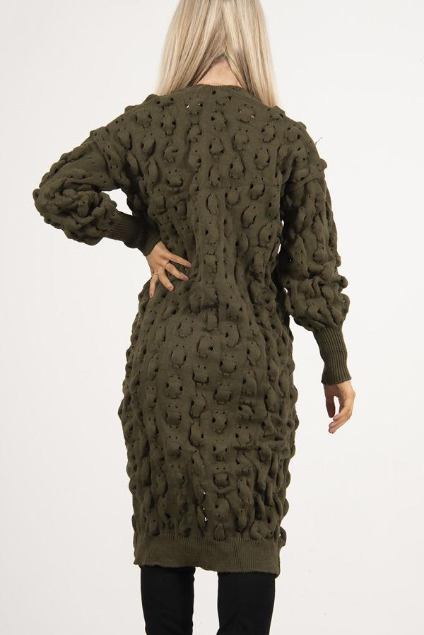 Khaki Bubble Knit Chunky Longline Cardigan