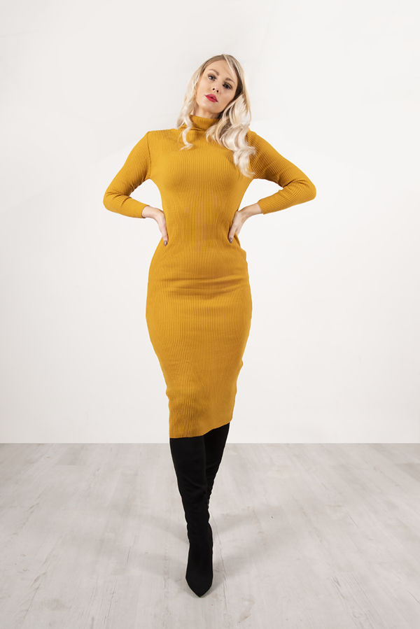 Mustard Roll Neck Rib Midi Dress With Contrast Chain Cardigan
