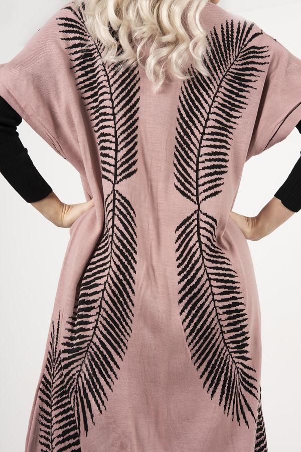 Mustard Roll Neck Rib Midi Dress With Contrast Print Cardigan