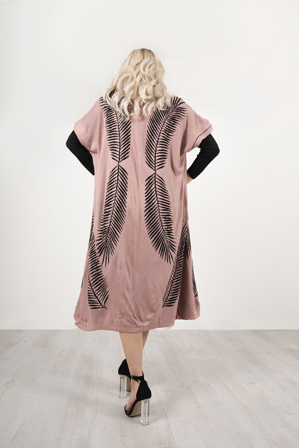 Pink Roll Neck Rib Midi Dress With Contrast Print Cardigan