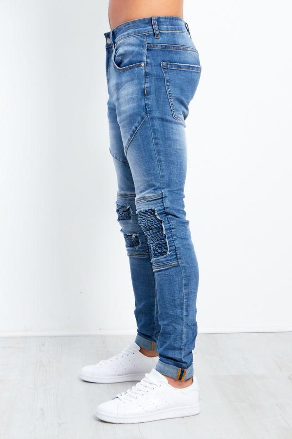 Ribbed Knee Faded Denim Skinny Jeans