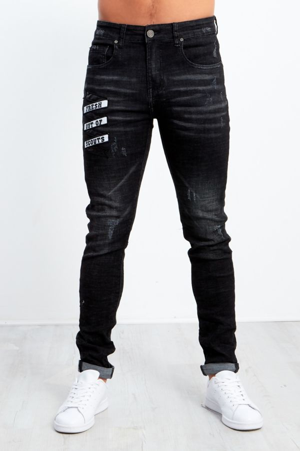 Black Fresh Out Of Scouts Distressed Jeans