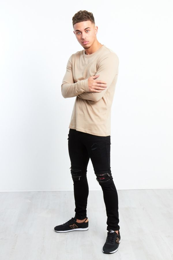 Zipped Knee Hidden Text Black Skinny Jeans
