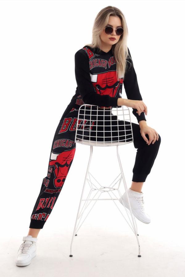 Black Chicago Bulls Hooded Loungewear Set