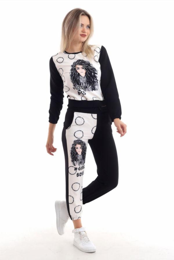 Black Girl Boss Printed Contrast Detail Loungewear PreOrder