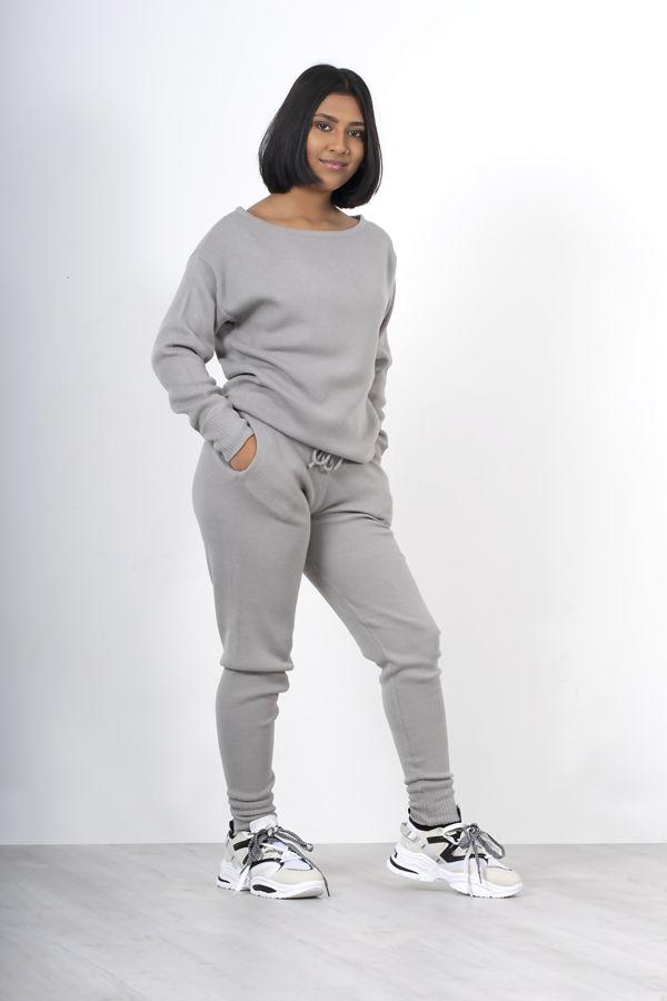 Silver Lounge Wear Knitted Set