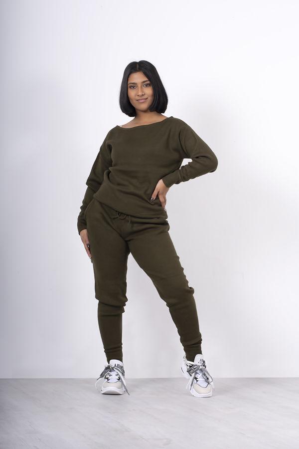 Khaki Lounge Wear Knitted Set