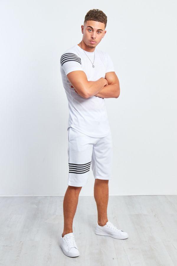 White Contrast Paneled T-Shirt and Shorts Set