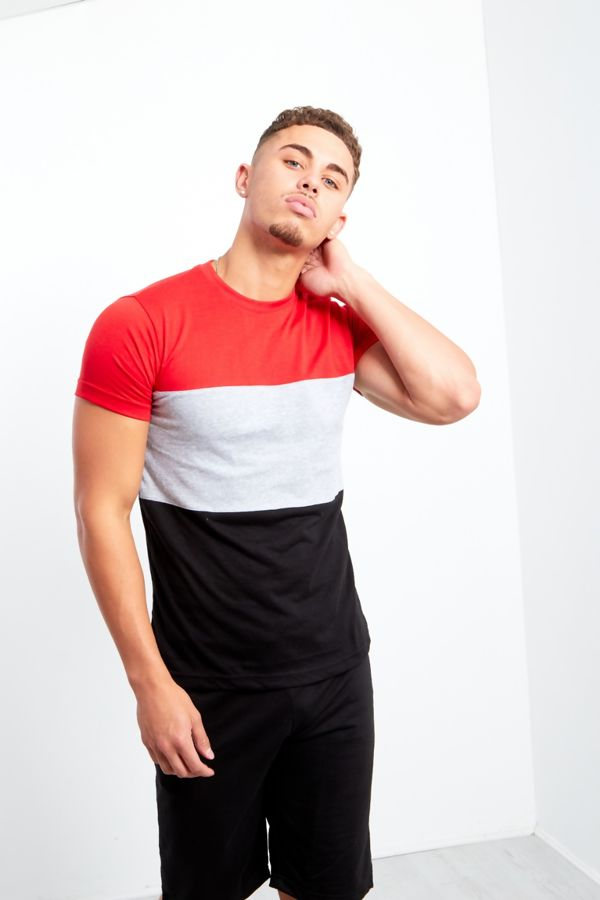 Black Blocked Colour T-shirt And Shorts Set