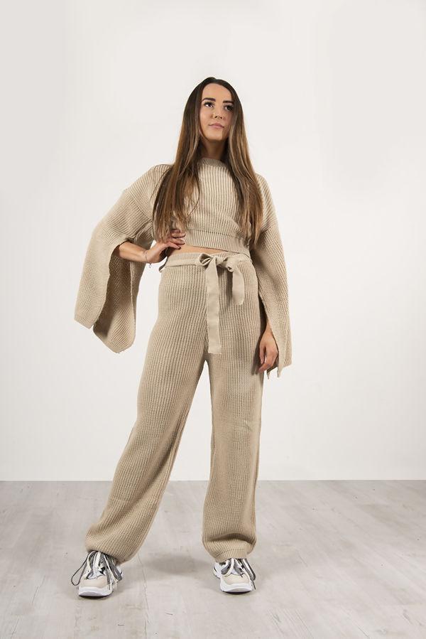 Beige Chunky Knit Loungewear Set