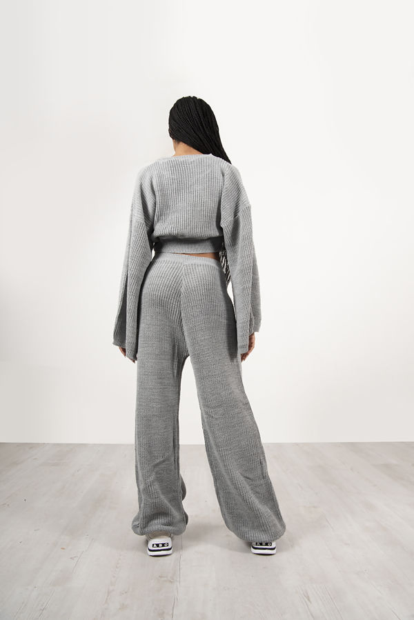 Grey Chunky Knit Loungewear Set