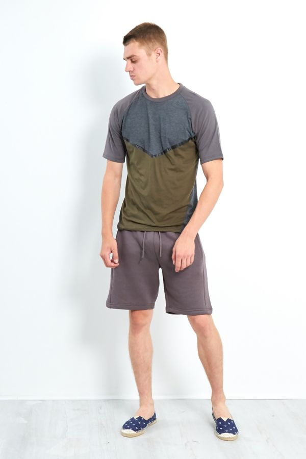 Charcoal Three-Tone Raglan Short Sleeve T-Shirt