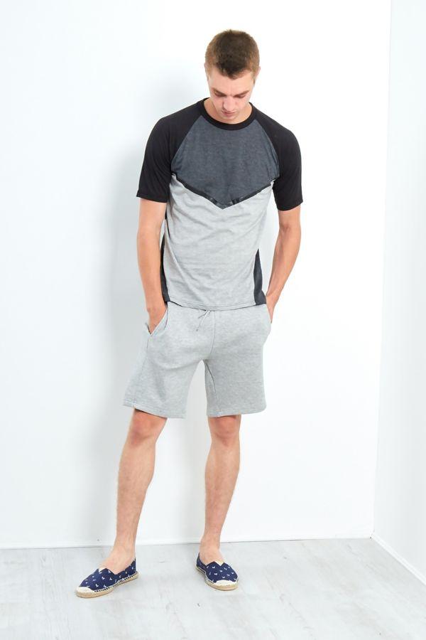 Grey Three-Tone Raglan Short Sleeve T-Shirt