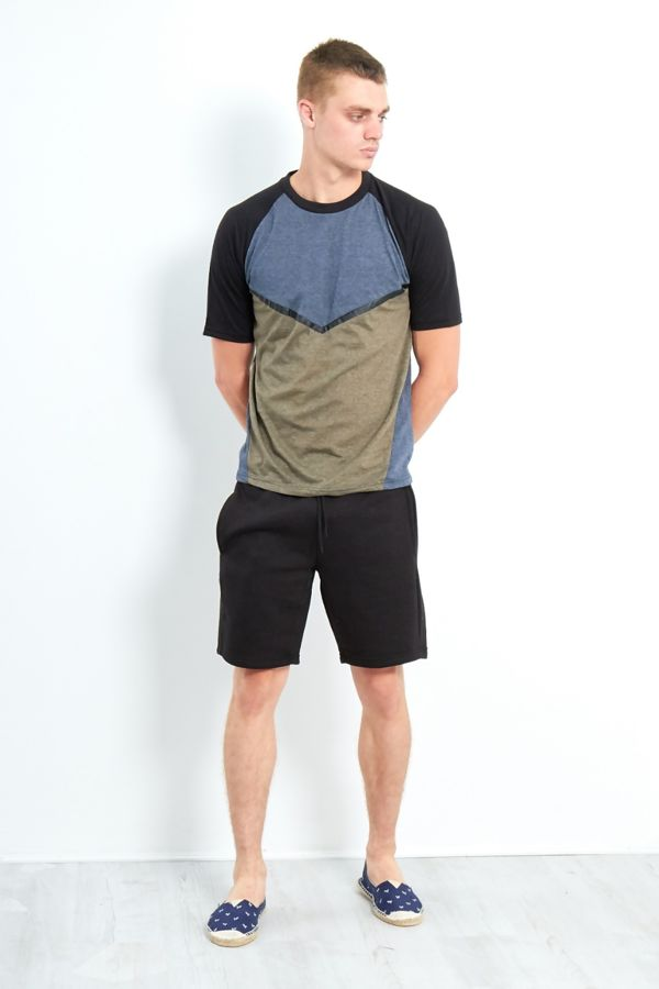 Black Three-Tone Raglan Short Sleeve T-Shirt