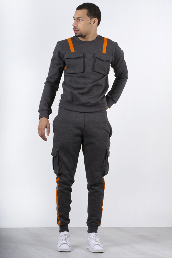 Charcoal Contrast Strap Pullover Cargo Tracksuit